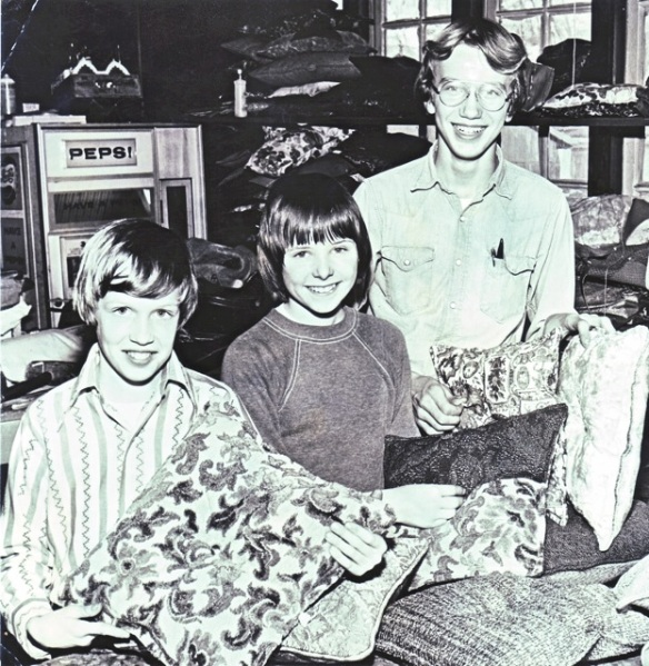 Me (left) with schoolmates Charlie and Matt, spending the afternoon in an upholstery shop making pillows (I've appreciated a good damask ever since)