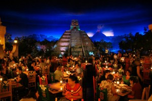 Dining under the stars, well, I mean the plaster ceiling and twinkle lights, at EPCOT's Mexican restaurant.