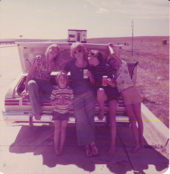 My family on our trip to the western U.S., stopping roadside for an ice cold Shasta orange soda in the cooler.