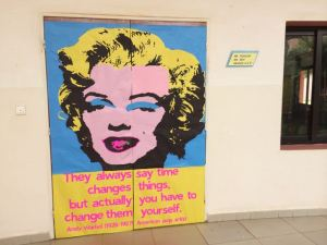 Marilyn sets the tone at the door. Oh, the wonders of butcher paper and stick glue.